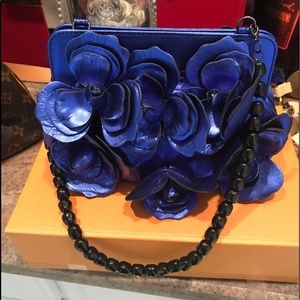 Anne Fontaine metallic blue floral clutch bag NWT